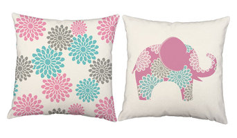 Floral Springtime Elephants Throw Pillows, Indoor Covers Only