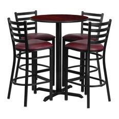 30'' Round Mahogany Laminate Table Set With 4-Ladder Back Metal Bar Stools