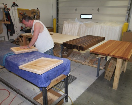 the making of a butcher block countertop