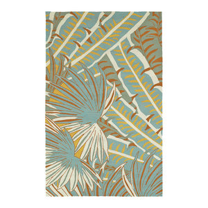 Kaleen Yunque Yun01-01 Outdoor Rug, Ivory , Sky Blue , Shale Gray, 2'x3'