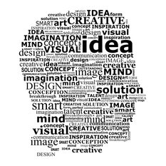 """Think Word Collage Wall Sticker, 44""""x50"""""""
