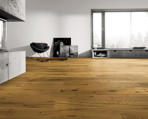 Parkettmanufaktur PLANK 1-STRIP TOSCANA VINTAGE OAK brushed, bevelled on long si - Engineered Wood Flooring