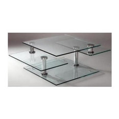 Chintaly Imports Square Base Tail Table With Three Tier Tops Coffee Tables