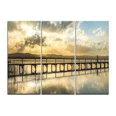"""Long Jetty Foreshore Reserve Panorama"" Wall Art, 3 Panels, 36""x28"""