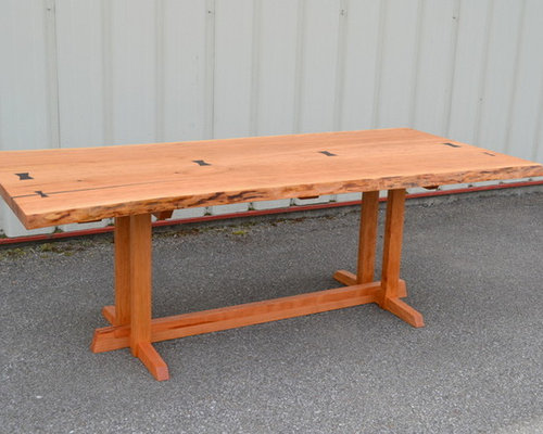 Live Edge Cherry Dining Table With Nakashima Style Base