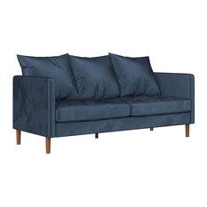 Modern Sofa, Soft Velvet Upholstered Seat & Comfortable Pillowback, Navy Blue