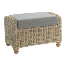 Stamford Rattan Footstool With Mayfair Plain Cushion