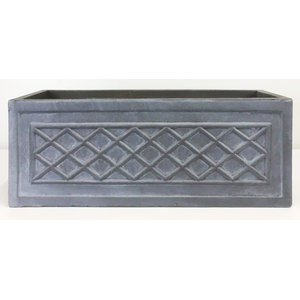 Window Box Faux Lead Lattice Grey Light Stone Planter, Large