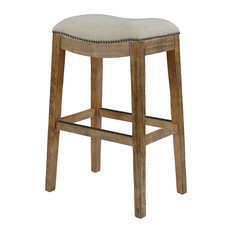 Billiard Factory Ss Saddle Stool With Nail Head Accents And Cream Fabric 30