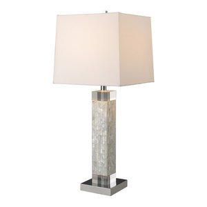 "31"" Luzerne Mother of Pearl Table Lamp, Chrome, Led"