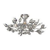 Transitional Semi Flush Silver Leaf With Clear Crystal