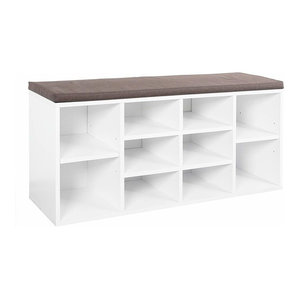 Contemporary Shoe Storage Rack, Solid Wood, White Brown
