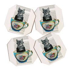 Coco de Paris Cat In A Cup 4 Coasters