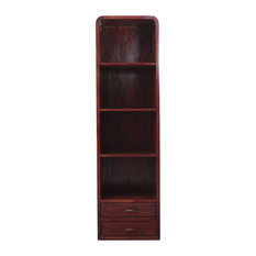 Contemporary Solid Wood Open Shelf Bookcase w Drawers