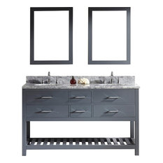 "Caroline Estate 60"" Double Vanity, Gray, Without Faucet, Round, Double Mirror"