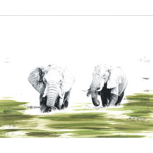 """Okavango Elephants"" Signed Limited Edition Artwork, 35x40 cm"