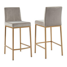 Velvet Counter Stool, Set of 2, Gray/Gold Legs