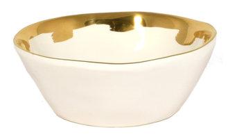 Gold and White Organic Ceramic Bowl