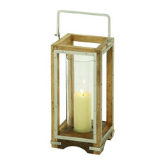 "Wood Metal Glass Candle Lantern, 8""x21"""