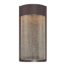 """LED Outdoor Wall Mounted Light, Bronze With Clear Seedy, 6""""x12"""""""