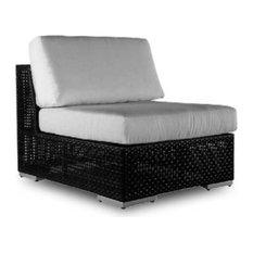 Patio Armless Chair in Rehau Fiber Java Brown Finish (Regency Sand)