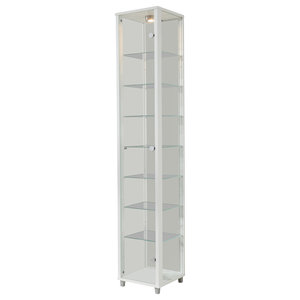 Vitrine Display Cabinet With LED, 1 Door, 7 Shelves, White