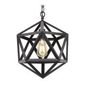 "Kira Home Trenton 16"" Wrought Iron Metal Geometric Pendant Chandelier"