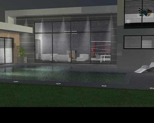 maison contemporaine toit terrasse et casquettes b ton. Black Bedroom Furniture Sets. Home Design Ideas