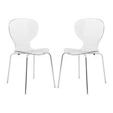 Leisuremod Modern Oyster Transparent Set Of 2 Side Chair