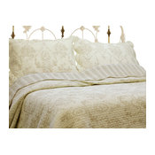 French Medallion Ivory 100% Cotton 3-Piece Quilt Set