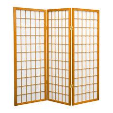 4' Tall Window Pane Shoji Screen, Honey, 3 Panels