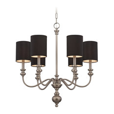 Willow Park 6-Light Chandelier, Antique Nickel With Black Fabric