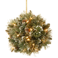 "12"" Glittery Bristle Pine Kissing Ball With Pine Cones"