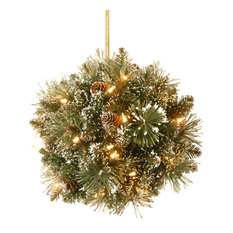 """National Tree Company - 12"""" Glittery Bristle Pine Kissing Ball, Battery Operated Warm White LED Lights - Holiday Accents and Figurines"""