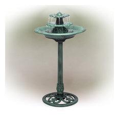 """Alpine Tiered Pedestal Garden Water Fountain and Birdbath, Dark Green, 35"""" Tall"""