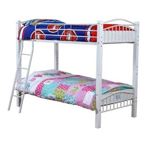 Single Bunk Bed, White Finished Metal Frame With Wooden Slats and Side Ladder