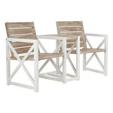 Jouana 2 Seat Bench, White, Oak