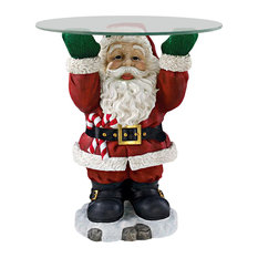 Design Toscano - Santa Claus Holiday Table With Glass Top - Holiday Accents and Figurines