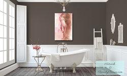 Feminine Brown and White Bathroom with Figurative Artwork