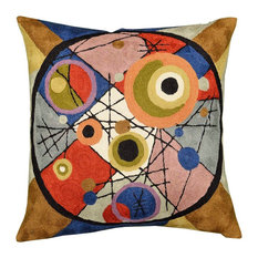 """Kandinsky Circles In Circle II Throw Pillow Wool Hand Embroidered 18x18"""""""