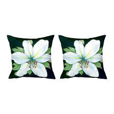 Pair of Betsy Drake Casablanca Lily No Cord Pillows 18 Inch X 18 Inch