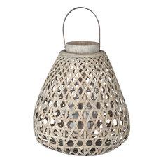 Coconio Wood Lattice Lantern, Tapered, White Washed