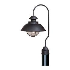Harwich 1L Black Coastal Outdoor Dome Barn Post Light Clear Glass