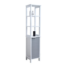 Bathroom Floor Cabinet Linen Tower with Shelves -Modern D- White and Gray