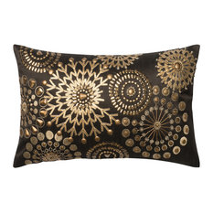 """Loloi Pillow Cover With Poly Insert, Brown and Gold, 13""""x21"""""""