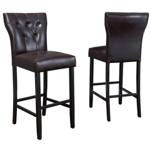 GDF Studio Pierre Brown Leather Bar Stools, Set of 2