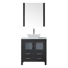 "32"" Single Vanity,Zebra Grey,White Engineered Stone Top,Sink,Faucet,Mirror"