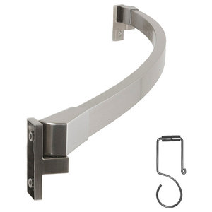 Adjustable Curved Shower Curtain Rod And Rings Set, Brushed Nickel