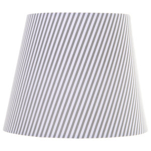 Striped Lam Shade, Grey and White