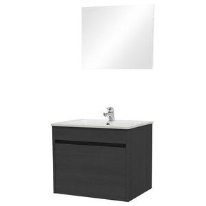 Maple Bathroom Vanity Unit and Mirror 2-Piece Set, Black Elm, 61 cm